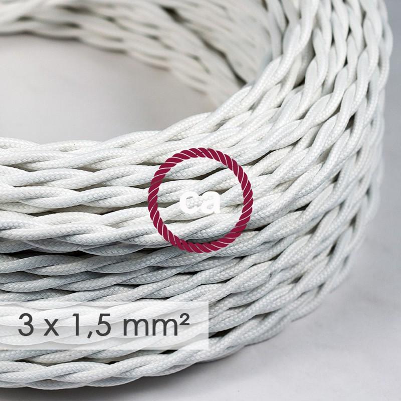 Cabo elétrico de seção grande 3x1,50 trançado - Seda artificial Branco TM01