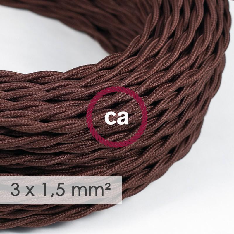 Cabo elétrico de seção grande 3x1,50 trançado - Seda artificial Castanho TM13