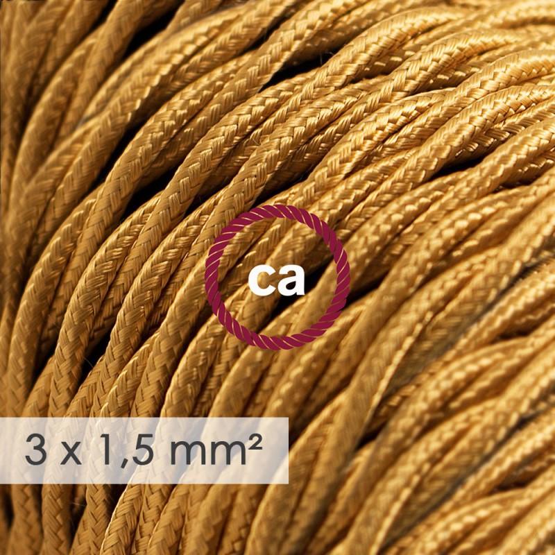 Cabo elétrico de seção grande 3x1,50 trançado - Seda artificial Dourado TM05