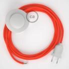Cabo para candeeiro de chão, RF15 Laranja Neon Seda Artificial 3 m. Escolha a cor da ficha e do interruptor.