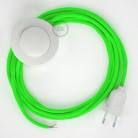 Cabo para candeeiro de chão, RF06 Verde Neon Seda Artificial 3 m. Escolha a cor da ficha e do interruptor.