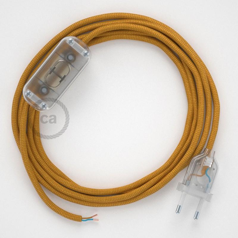 Cabo para candeeiro de mesa, RM05 Dourado Seda Artificial 1,80 m. Escolha a cor da ficha e do interruptor.