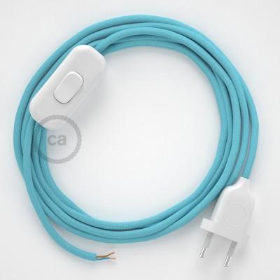 Cabo para candeeiro de mesa, RM17 Azul Bebé Seda Artificial 1,80 m. Escolha a cor da ficha e do interruptor.