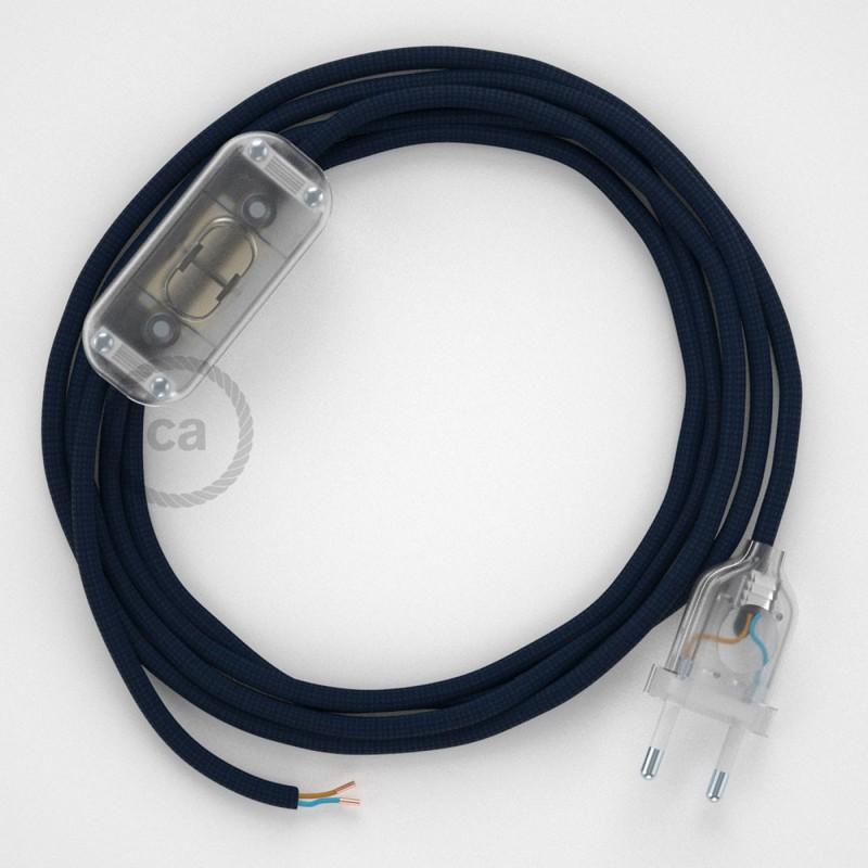 Cabo para candeeiro de mesa, RM20 Azul Escuro Seda Artificial 1,80 m. Escolha a cor da ficha e do interruptor.