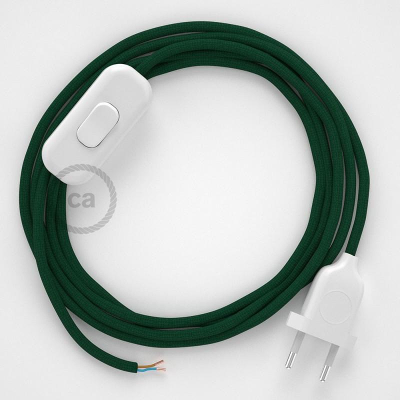 Cabo para candeeiro de mesa, RM21 Verde Escuro Seda Artificial 1,80 m. Escolha a cor da ficha e do interruptor.