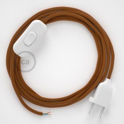 Cabo para candeeiro de mesa, RM22 Whiskey Seda Artificial 1,80 m. Escolha a cor da ficha e do interruptor.