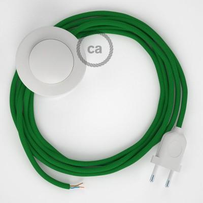 Cabo para candeeiro de chão, RM06 Verde Seda Artificial 3 m. Escolha a cor da ficha e do interruptor.