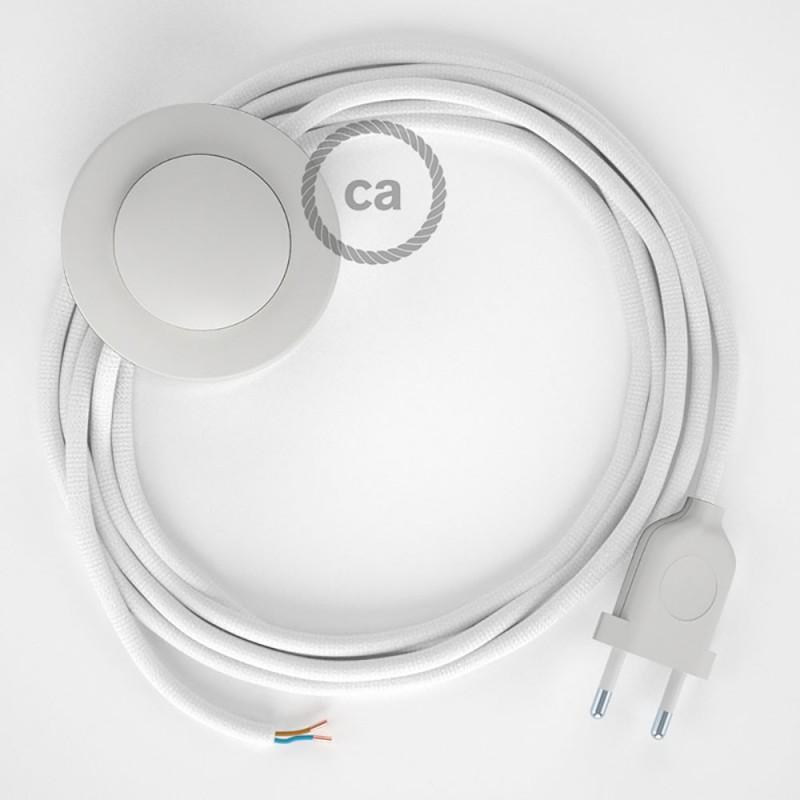 Cabo para candeeiro de chão, RM01 Branco Seda Artificial 3 m. Escolha a cor da ficha e do interruptor.