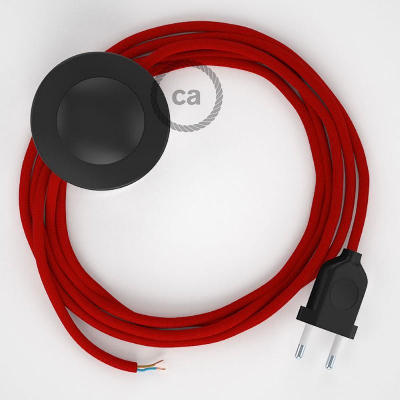 Cabo para candeeiro de chão, RM09 Vermalho Seda Artificial 3 m. Escolha a cor da ficha e do interruptor.
