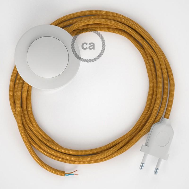 Cabo para candeeiro de chão, RM05 Dourado Seda Artificial 3 m. Escolha a cor da ficha e do interruptor.