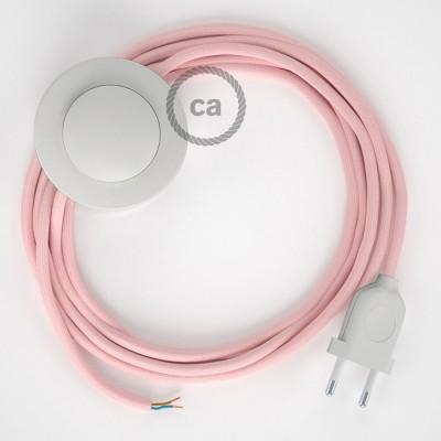 Cabo para candeeiro de chão, RM16 Rosa Bebé Seda Artificial 3 m. Escolha a cor da ficha e do interruptor.
