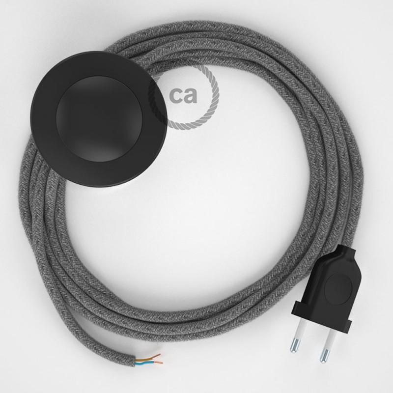 Cabo para candeeiro de chão, RN02 Cinzento Linho Natural 3 m. Escolha a cor da ficha e do interruptor.