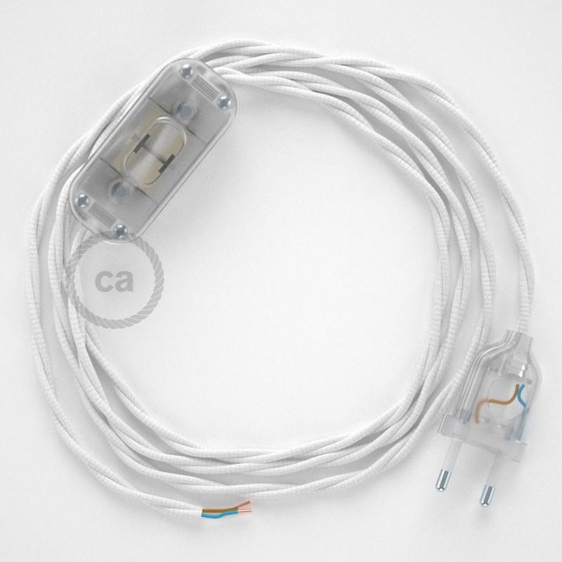 Cabo para candeeiro de mesa, TM01 Branco Seda Artificial 1,80 m. Escolha a cor da ficha e do interruptor.