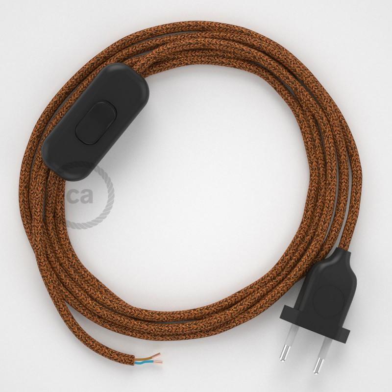 Cabo para candeeiro de mesa, RL22 Cobre Brilhante Seda Artificial 1,80 m. Escolha a cor da ficha e do interruptor.