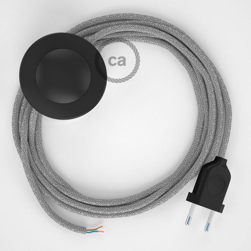 Cabo para candeeiro de chão, RL02 Prateado Brilhante Seda Artificial 3 m. Escolha a cor da ficha e do interruptor.