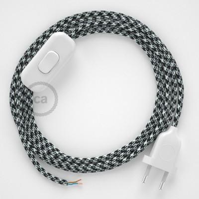Cabo para candeeiro de mesa, RP04 Bicolor Branco-Preto Seda Artificial 1,80 m. Escolha a cor da ficha e do interruptor.