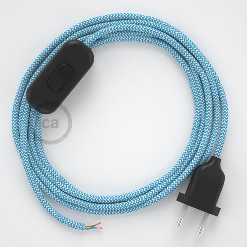 Cabo para candeeiro de mesa, RZ11 ZigZag Turquesa Seda Artificial 1,80 m. Escolha a cor da ficha e do interruptor.