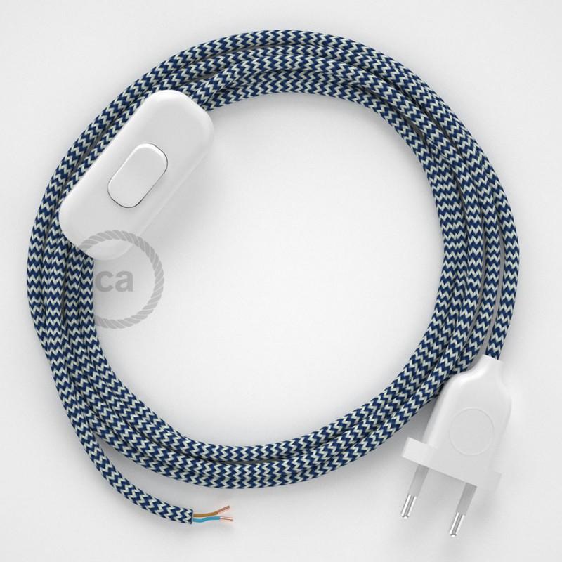 Cabo para candeeiro de mesa, RZ12 ZigZag Azul Seda Artificial 1,80 m. Escolha a cor da ficha e do interruptor.