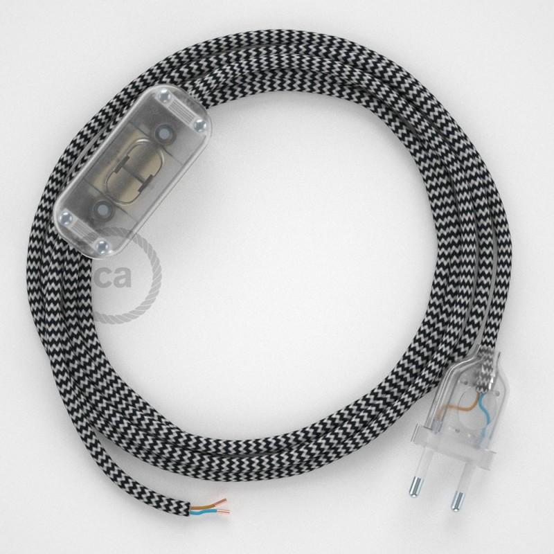 Cabo para candeeiro de mesa, RZ04 ZigZag Preto Seda Artificial 1,80 m. Escolha a cor da ficha e do interruptor.