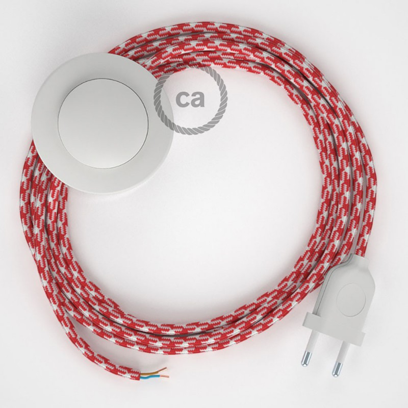 Cabo para candeeiro de chão, RP09 Bicolor Branco-Vermelho Seda Artificial 3 m. Escolha a cor da ficha e do interruptor.