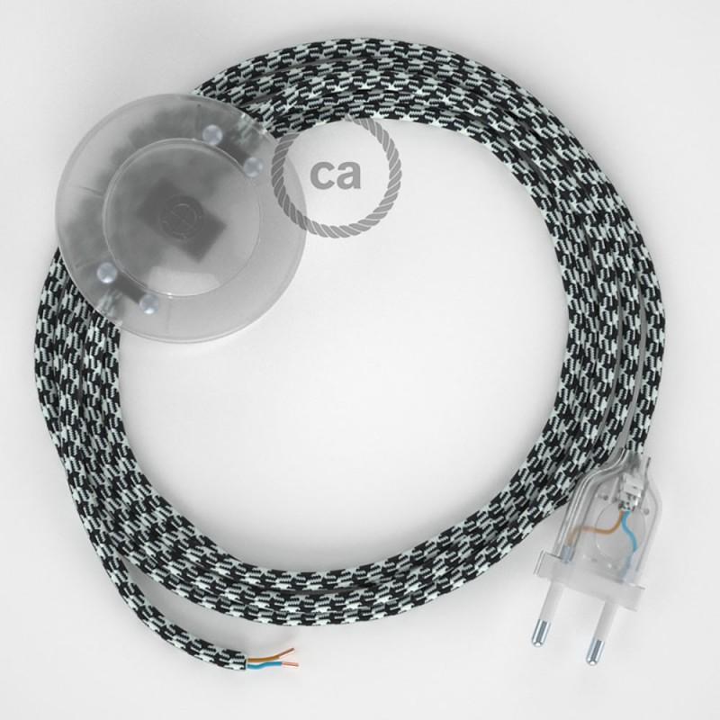 Cabo para candeeiro de chão, RP04 Bicolor Branco-Preto Seda Artificial 3 m. Escolha a cor da ficha e do interruptor.