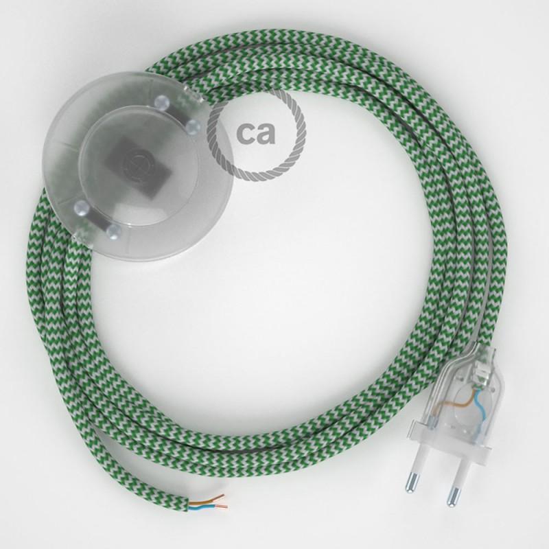 Cabo para candeeiro de chão, RZ06 ZigZag Verde Seda Artificial 3 m. Escolha a cor da ficha e do interruptor.