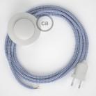 Cabo para candeeiro de chão, RZ07 ZigZag Lilás Seda Artificial 3 m. Escolha a cor da ficha e do interruptor.