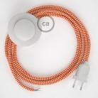 Cabo para candeeiro de chão, RZ15 ZigZag Laranja Seda Artificial 3 m. Escolha a cor da ficha e do interruptor.