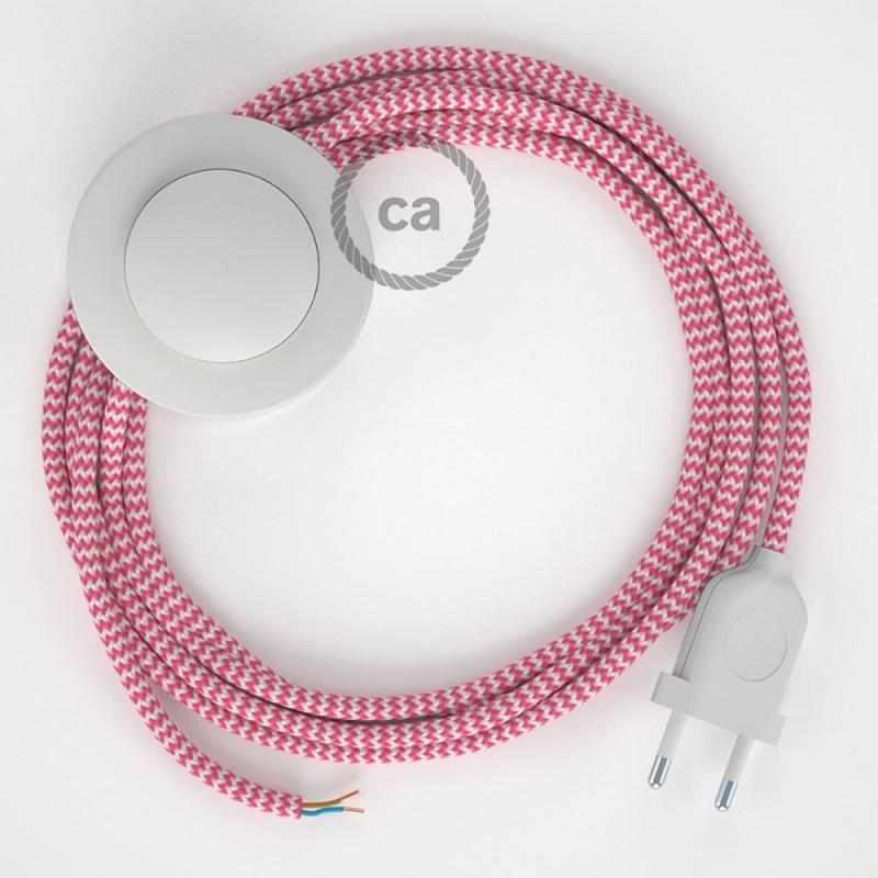 Cabo para candeeiro de chão, RZ08 ZigZag Fúcsia Seda Artificial 3 m. Escolha a cor da ficha e do interruptor.