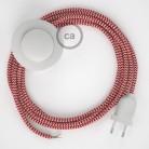 Cabo para candeeiro de chão, RZ09 ZigZag Vermelho Seda Artificial 3 m. Escolha a cor da ficha e do interruptor.