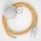 Cabo para candeeiro de chão, RZ10 ZigZag Amarelo Seda Artificial 3 m. Escolha a cor da ficha e do interruptor.