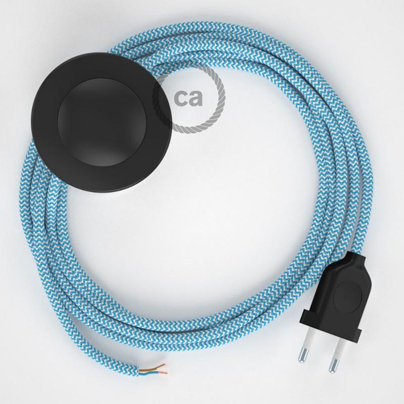 Cabo para candeeiro de chão, RZ11 ZigZag Turquesa Seda Artificial 3 m. Escolha a cor da ficha e do interruptor.