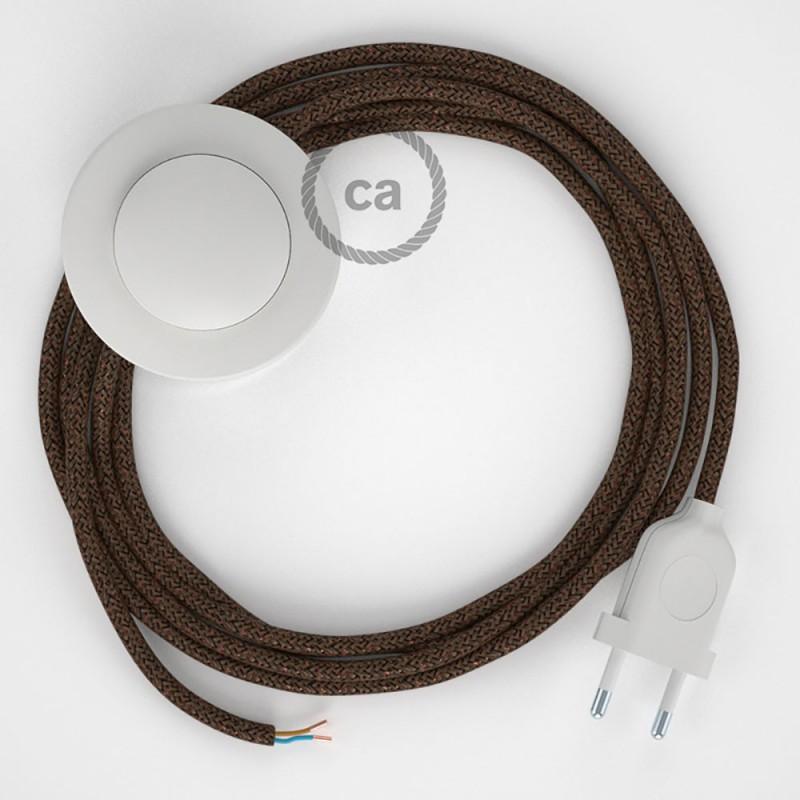 Cabo para candeeiro de chão, RL13 Castanho Seda Artificial 3 m. Escolha a cor da ficha e do interruptor.