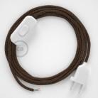 Cabo para candeeiro de mesa, RL13 Castanho Seda Artificial 1,80 m. Escolha a cor da ficha e do interruptor.