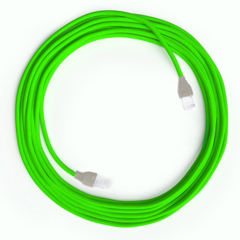 Cabo Ethernet LAN Cat 5e com conectores RJ45 - Tecido Seda RF06 Verde Neon