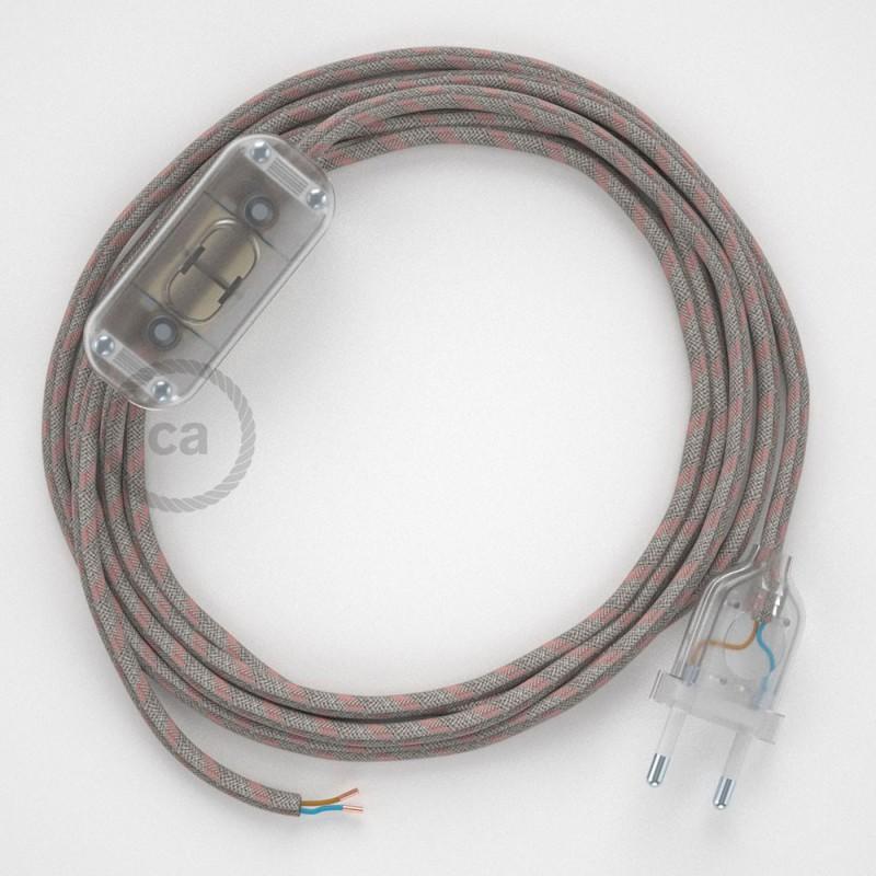 Cabo para candeeiro de mesa, RD51 Riscas Rosa Velho Algodão e Linho Natural 1,80 m. Escolha a cor da ficha e do interruptor.