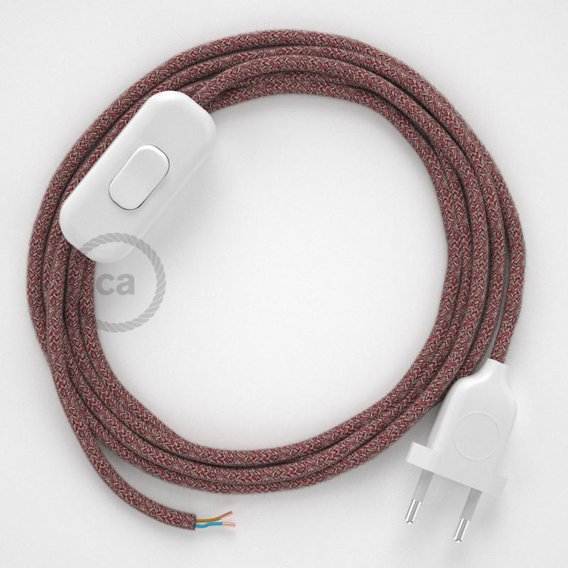 Cabo para candeeiro de mesa, RS83 Vermelho Algodão e Linho Natural 1,80 m. Escolha a cor da ficha e do interruptor.