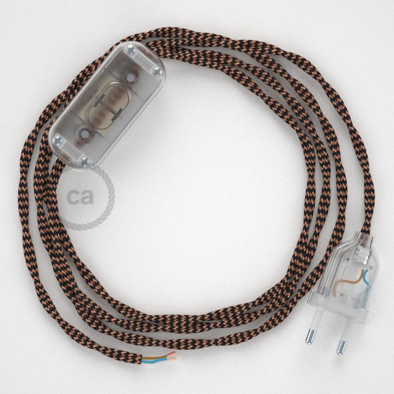 Cabo para candeeiro de mesa, TZ22 Preto e Whiskey Seda Artificial 1,80 m. Escolha a cor da ficha e do interruptor.