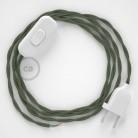 Cabo para candeeiro de mesa, TC63 Verde Cinza Algodão 1,80 m. Escolha a cor da ficha e do interruptor.