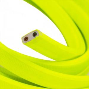 Cabo elétrico para cordão de luzes, coberto por tecido Seda Amarelo Fluo CF10