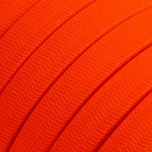 Cabo elétrico para cordão de luzes, coberto por tecido Seda Laranja Fluo CF15