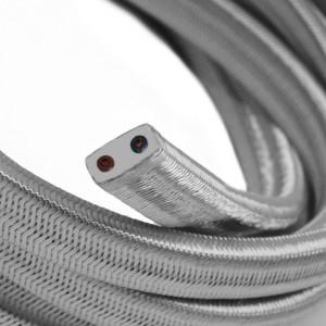 Cabo elétrico para cordão de luzes, coberto por tecido Seda Prateado CM02
