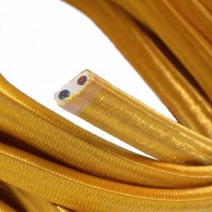 Cabo elétrico para cordão de luzes, coberto por tecido Seda Dourado CM05