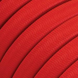 Cabo elétrico para cordão de luzes, coberto por tecido Seda Vermelho CM09