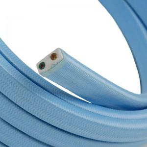 Cabo elétrico para cordão de luzes, coberto por tecido Seda Azul Bebé CM17