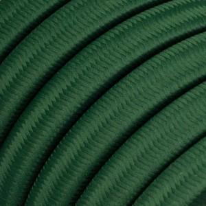 Cabo elétrico para cordão de luzes, coberto por tecido Seda Verde Escuro CM21