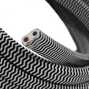 Cabo elétrico para cordão de luzes, coberto por tecido Seda ZigZag Branco-Preto CZ04