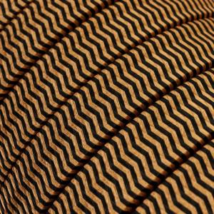 Cabo elétrico para cordão de luzes, coberto por tecido Seda ZigZag Preto-Whiskey CZ22