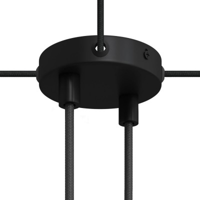 Kit de rosácea de teto Mini cilíndrica em metal com 2 furos centrais + 4 furos laterais