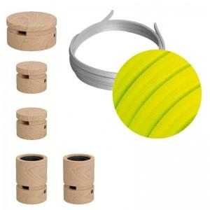 Kit Wiggle do Sistema Filé - com cordão de luzes de 3mt e 5 componentes de madeira para interior.
